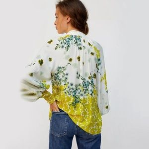 Anthropologie Fidela Tie-Neck Floral Blouse